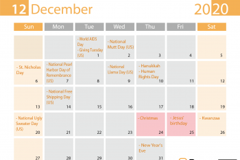 December 2020 special days for Print on Demand sellers
